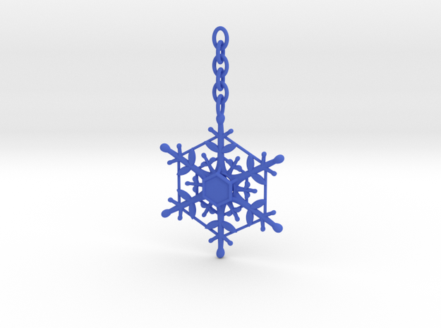 Snowflake Custom Initial Ornament in Blue Processed Versatile Plastic