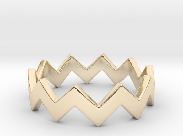 Zig Zag Wave Stackable Ring Size 4 in 14K Yellow Gold