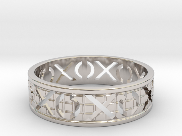 Size 6 Xoxo Ring A in Rhodium Plated Brass