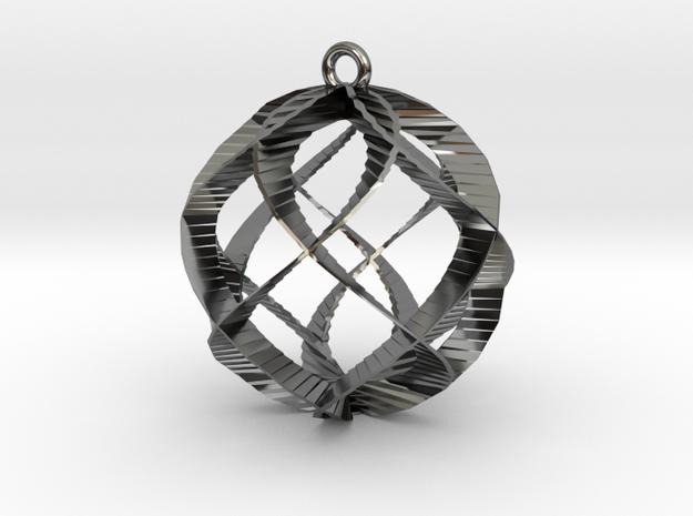 Spiral Sphere Ornament  in Premium Silver