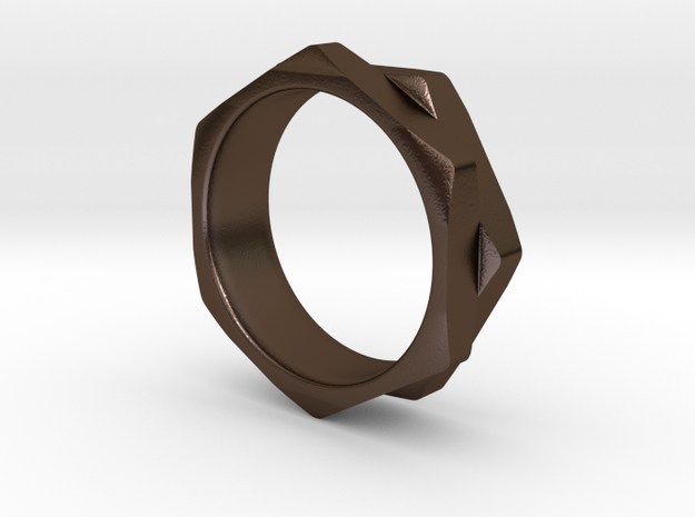 Double Hex Nut Ring in Polished Bronze Steel