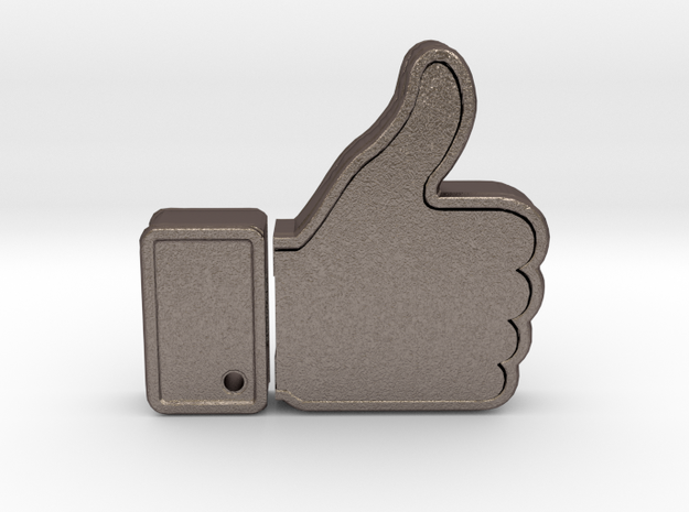 THUMBS UP USB HOLDER in Polished Bronzed Silver Steel
