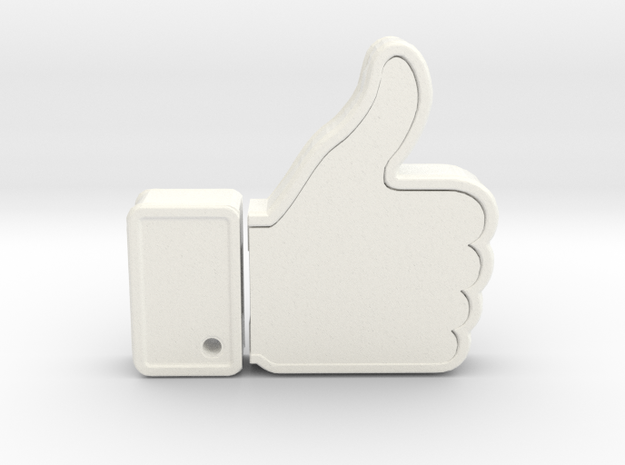 THUMBS UP USB HOLDER in White Strong & Flexible Polished