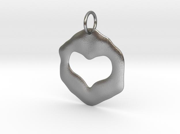 Pendant of true love in Raw Silver