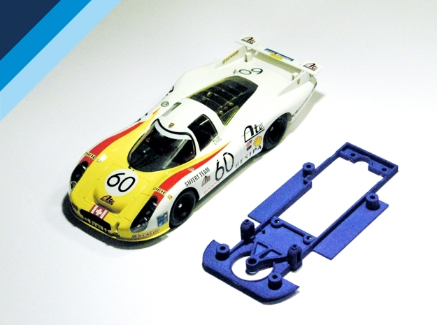 1/32 SRC Porsche 907 / 908 Chassis for Slot.it pod in Blue Strong & Flexible Polished