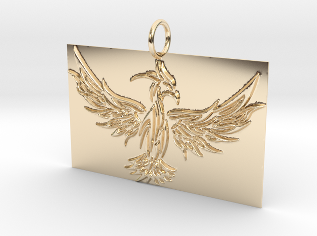 Square Phoenix Pendant in 14K Yellow Gold