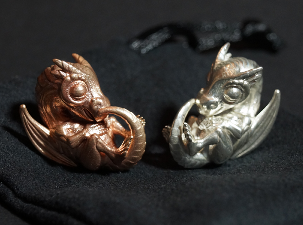 Dragon Baby Talisman in Natural Bronze