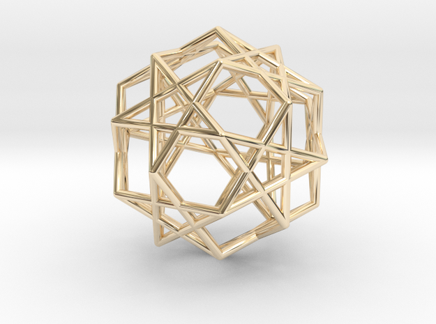 Star Dodecahedron in 14k Gold Plated Brass