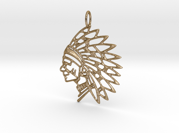 Tribal Chief Pendant in Polished Gold Steel