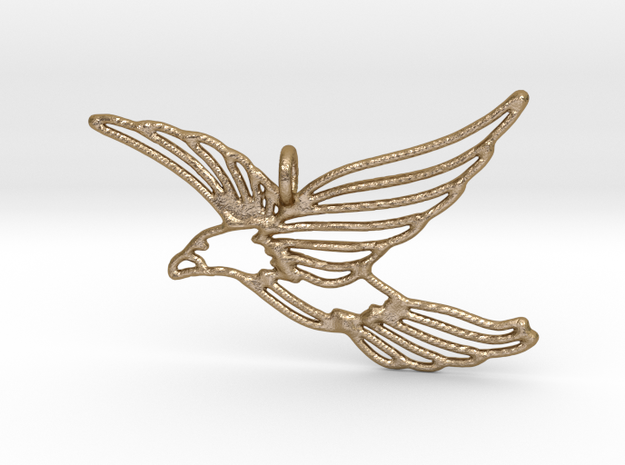 Flying Bird Pendant in Polished Gold Steel