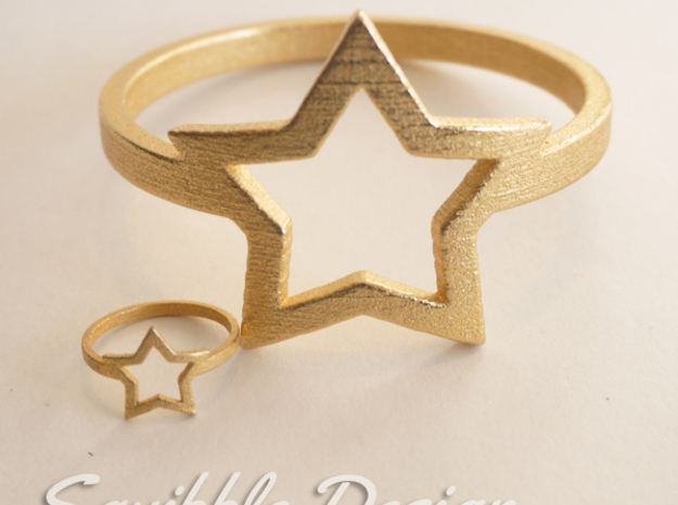 Kawaii Star Ring Size 7 in Polished Gold Steel