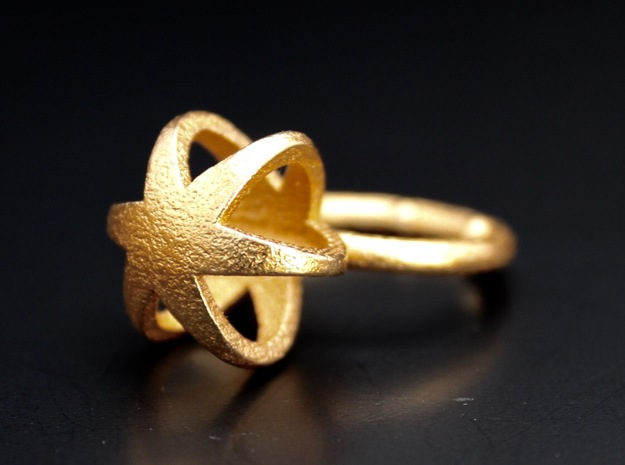 3D MINI STAR GLITZ SPARKLE RING - size 8 in Polished Gold Steel