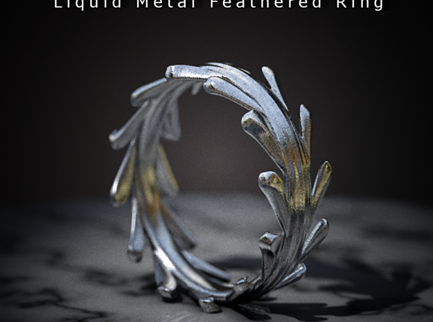 Liquid Metal Feathered Ring