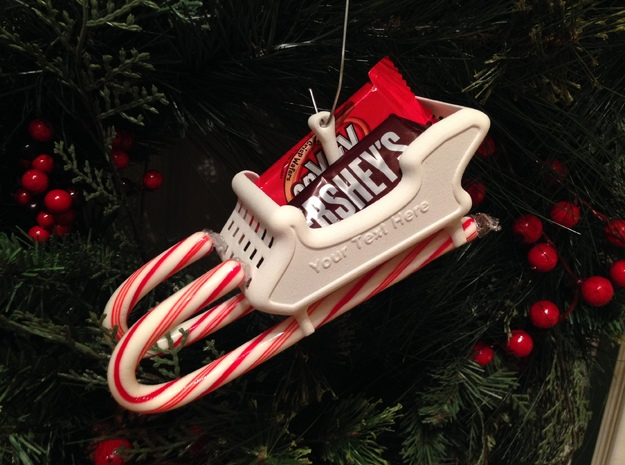 Candy Cane Sleigh in White Natural Versatile Plastic