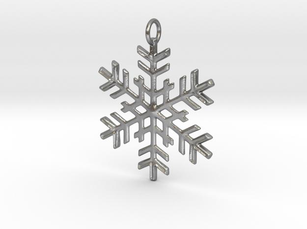 Snowflake Pendant in Natural Silver