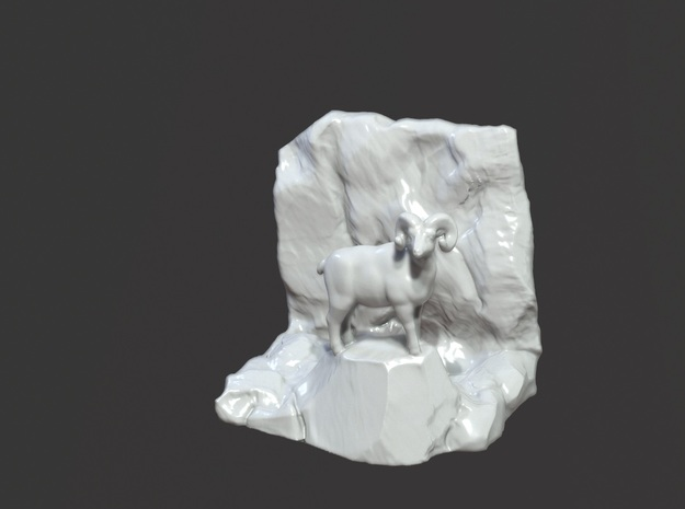 Bookend Bighorn sheep in Gloss White Porcelain