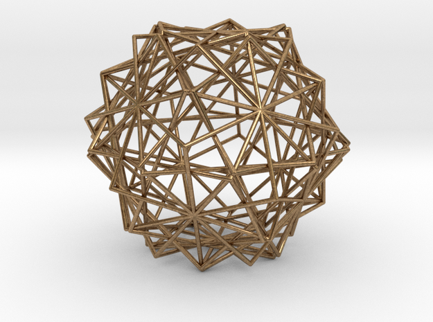 10 Cube Compound, Wireframe in Natural Brass