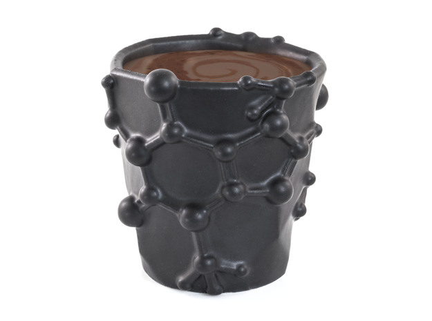 Chocolate Molecule Mug - Theobromine in Matte Black Porcelain