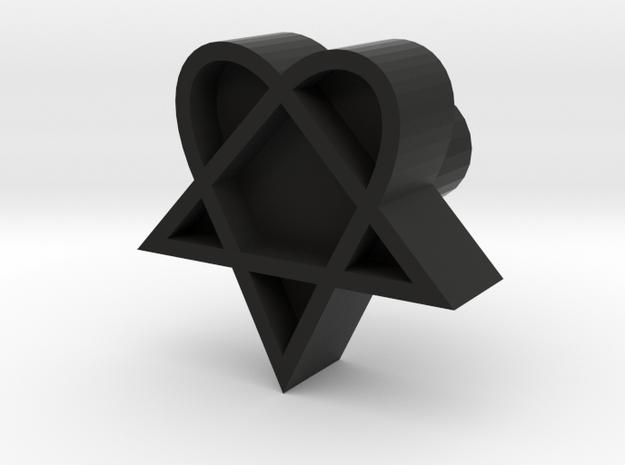 Heartagram stamp design, 3d printed leather stamp in Black Natural Versatile Plastic