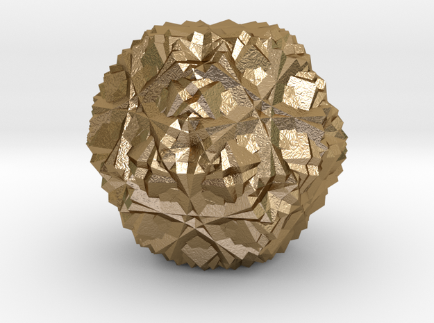 Cuboctahedron 30 Compound, Solid in Polished Gold Steel
