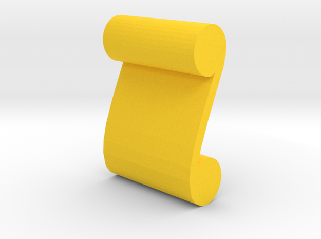 Game Piece, Scroll Artifact in Yellow Processed Versatile Plastic