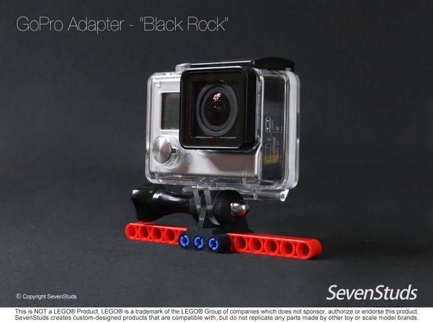 "GoPro Mount for LEGO® Technic ""Black Rock"" in Black Strong & Flexible"
