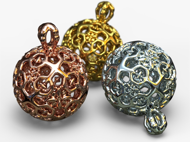PA Ball D11Se64m2-wax in Rhodium Plated Brass