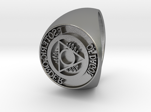 Esoteric Order Of Dagon Signet Ring Size 12.5 in Natural Silver