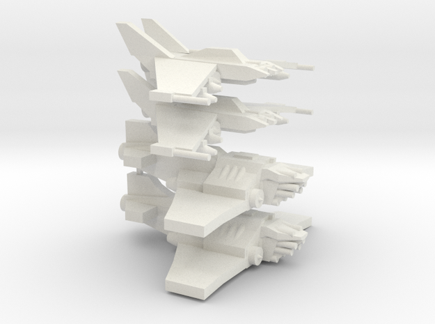 [5] 2x Light Strike Fighter, 2x Heavy Fighter in White Natural Versatile Plastic