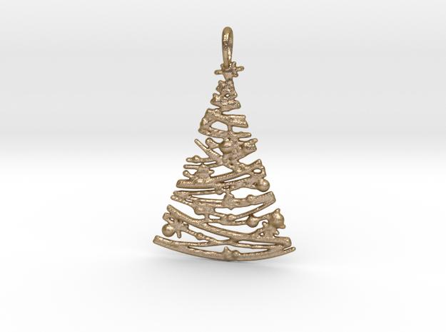 Christmas Tree Pendant 4 in Polished Gold Steel