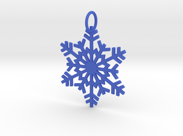 Snowflake Ornament/Pendant in Blue Processed Versatile Plastic