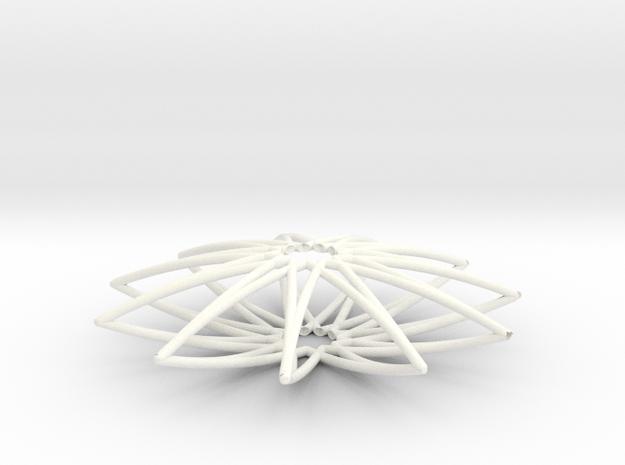 Spirograph Pendant 02 in White Processed Versatile Plastic