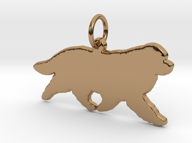 Newfoundland dog silhouette pendant 3d printed  in Polished Brass