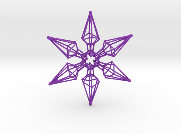 6 Point Ninja Star - 7cm in Purple Processed Versatile Plastic