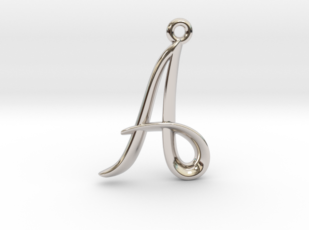 A Initial Charm in Rhodium Plated Brass