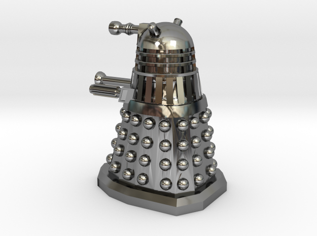 Dalek10 Without Hoop in Fine Detail Polished Silver