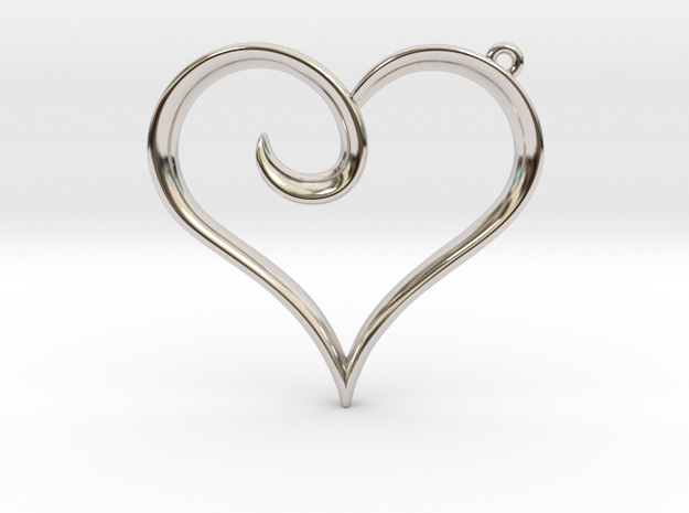 The Heart Pendant in Rhodium Plated Brass