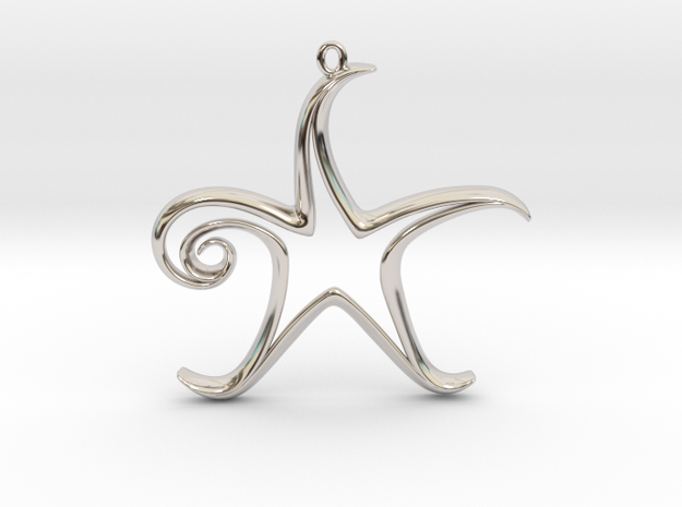 The Star Pendant 3d printed Printed in Stainless Steel (no chain or jump ring included).
