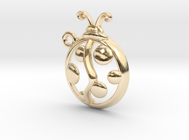 Tiny Ladybug Charm in 14k Gold Plated Brass