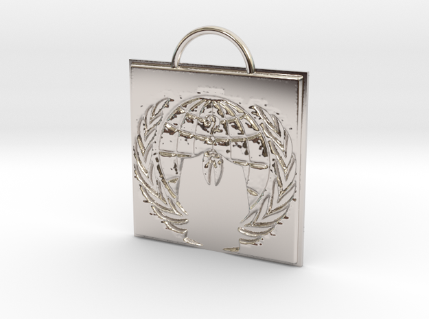 Anonymous logo keychain in Rhodium Plated Brass