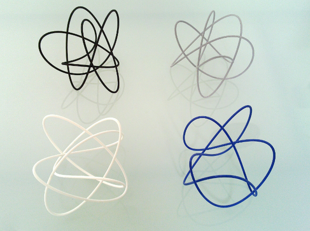 Lissajous (4, 3, 5) (0, π/2, 0) 3d printed This Lissajous figure is the white one.