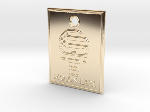 Punisher Flag Pendant in 14K Yellow Gold