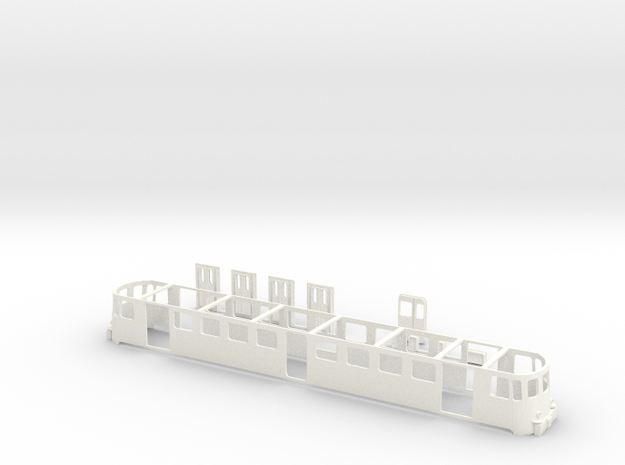 SBB Triebwagen RBe540  Wagenkasten Scale TT  1/12 in White Processed Versatile Plastic
