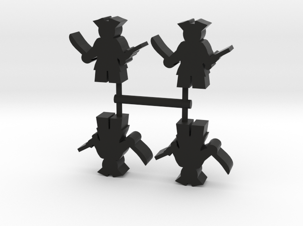 Pirate Meeple with sword and pistol, 4-set in Black Natural Versatile Plastic
