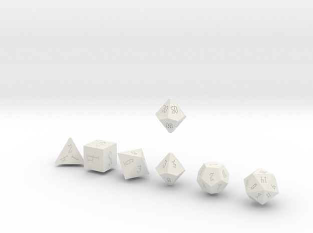 ELDRITCH SHARP Innies dice in White Natural Versatile Plastic