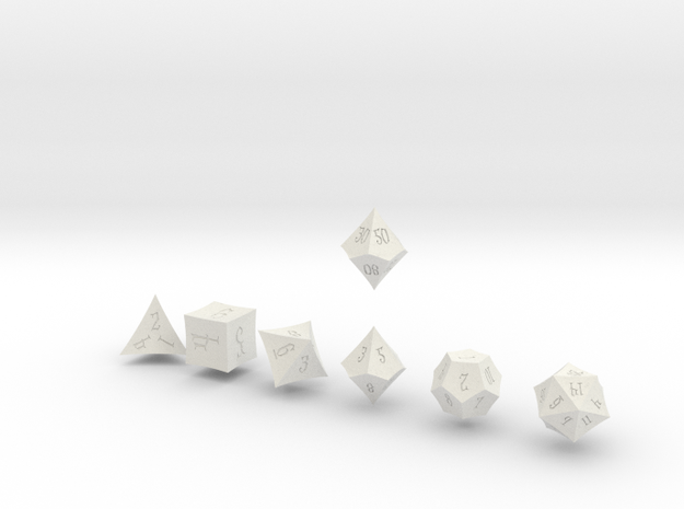 ELDRITCH POINTY Innies dice in White Natural Versatile Plastic