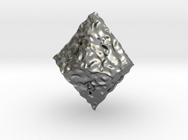ELDRITCH ROUGH d10 in Polished Silver