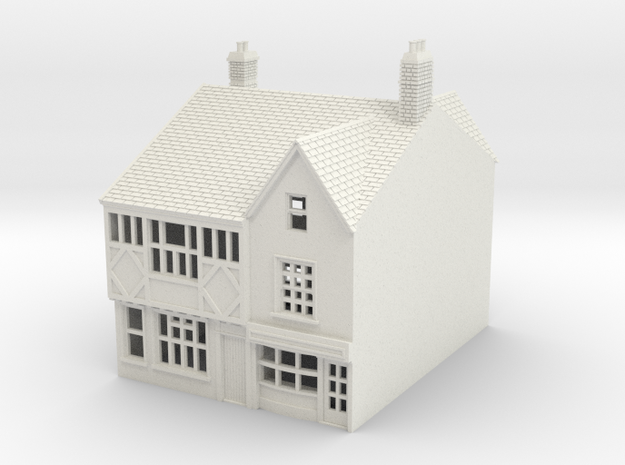 RNS-1 N Scale British town buildings 1:148 in White Natural Versatile Plastic