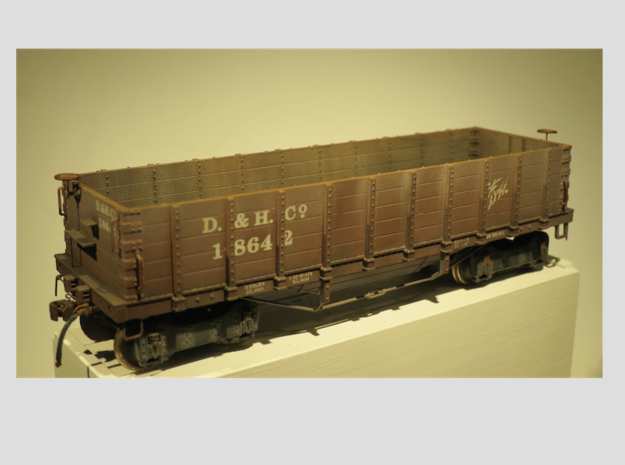 Hopper 5 Board Delaware & Hudson 1890 S Scale 1/64 in Frosted Ultra Detail