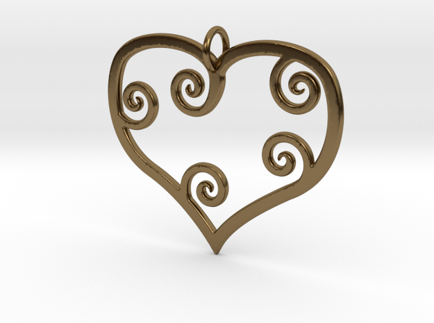 Heart Pendant Charm in Polished Bronze
